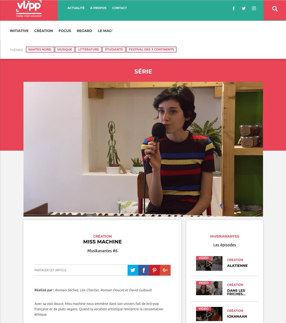 Capture d'écran du Vlipp -- Musikanantes avec Miss Machine