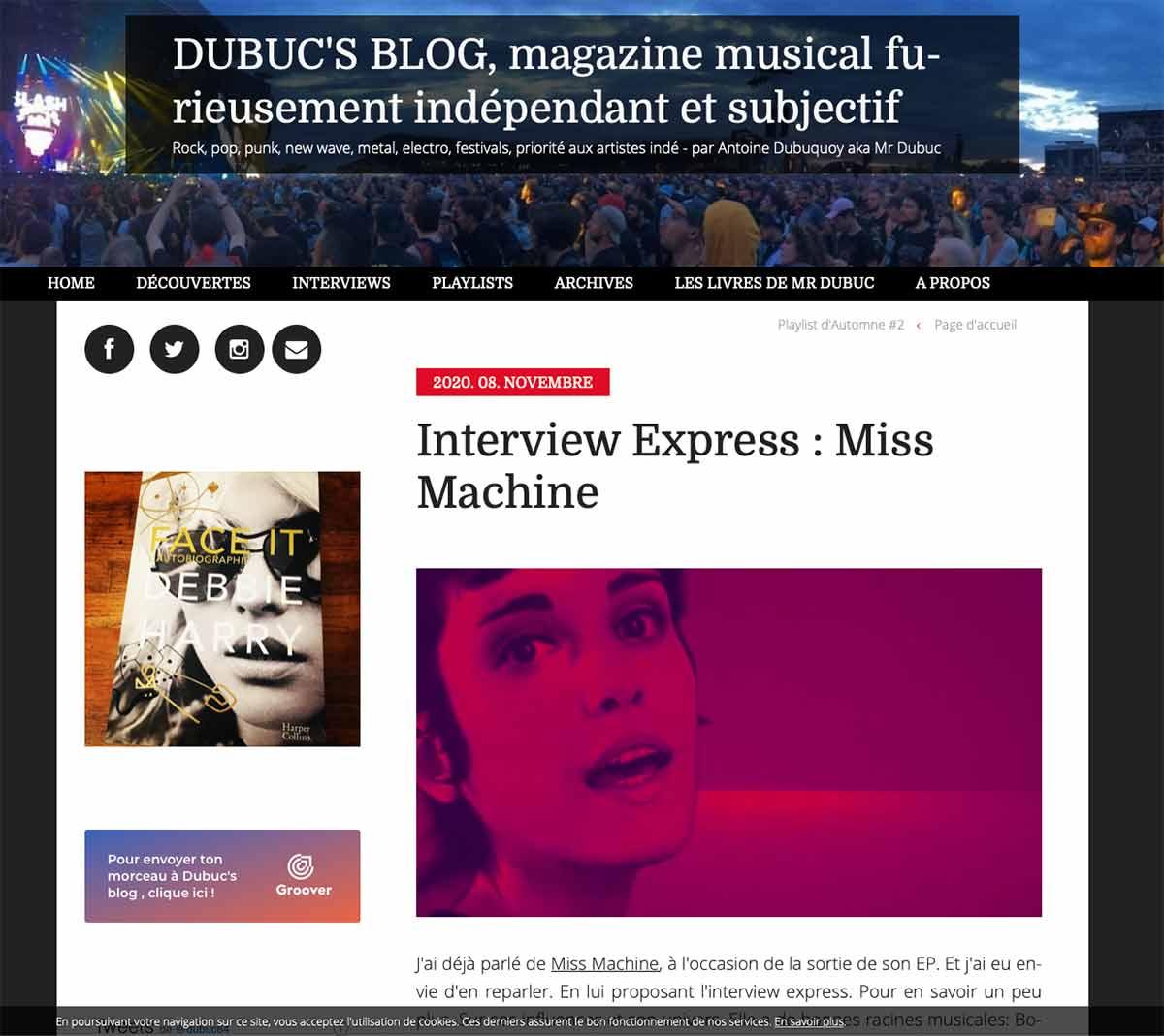Dubuc's blog interview